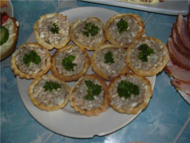 Салат печеночный в тарталетках рецепты